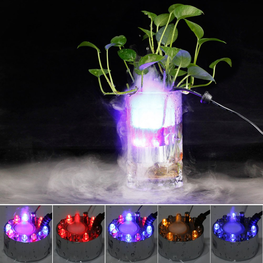 Fuloon New Atomizer Water Level Sensor 12 LED Fountain Mist Maker Light Fogger Mister With AC Adapter Filter The Bad Smell With Electro And Ultrasonic Technology