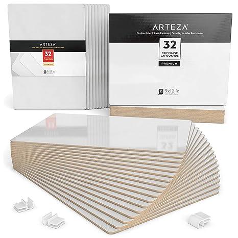 ARTEZA Tableros de pizarra blanca pequeña | Conjunto de 32 tableros de doble cara | Tamaño 22,5 x 30 cm | Pizarras de rotulador pequeñas para aulas y ...