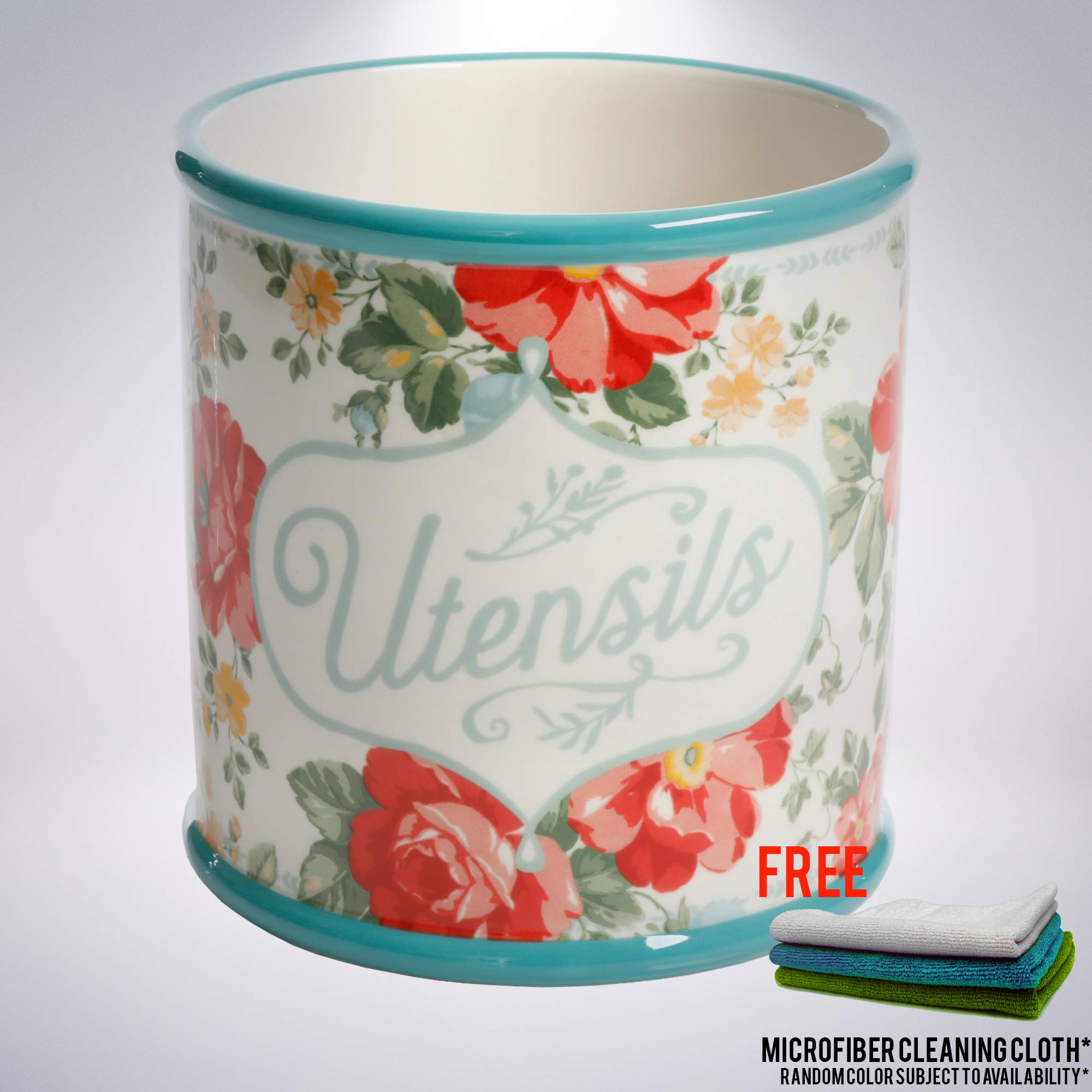 Vintage Floral Crock bundled with Free Microfiber Cleaning Cloth by Unknown