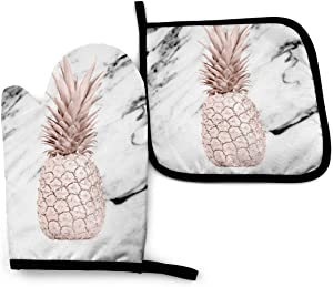 Oven Mitts and Pot Holders Set,Black White Marble Rose Gold Pineapple Washable Heat Resistant Kitchen Non-Slip Grip Oven Gloves for Microwave BBQ Cooking Baking Grilling