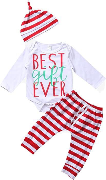 fe0e66fc17a5 Baby Boys Girls BEST GIFT EVER Long Sleeve Bodysuit and Striped Pants With  Hat Outfits Set