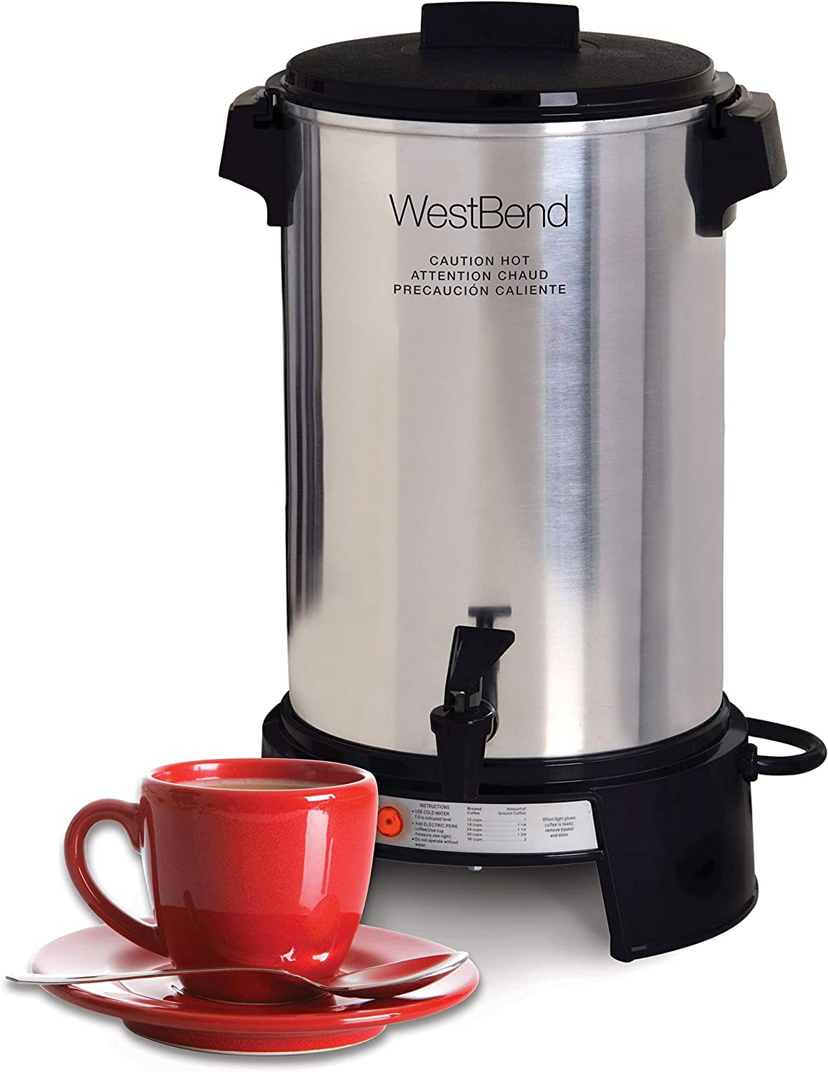 West Bend 43536 Highly Polished Aluminum Commercial Coffee Urn Features Automatic Temperature Control Large Capacity with Quick Brewing Smooth Prep and Easy Clean Up, 36-Cup, Silver