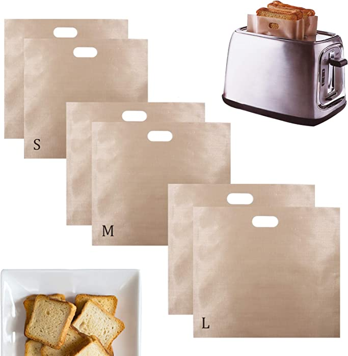 6 Pack Reusable Toaster Bags, Non Stick Toaster Sleeves for Sandwiches, Pastries, Pizza Slices, Chicken Nuggets - Heat Resistant Egg Pouch Toaster.