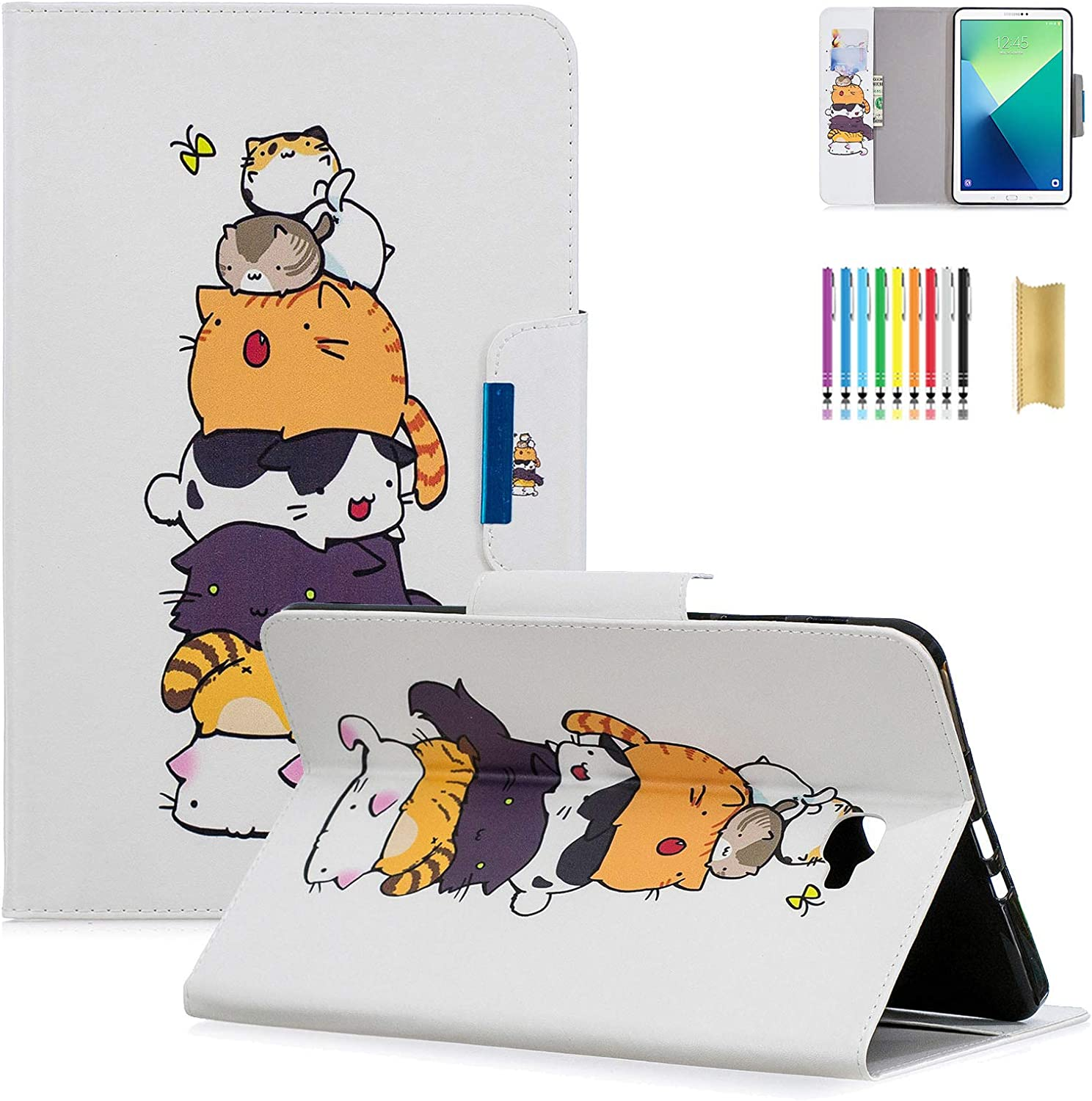 "Dteck for Samsung Galaxy Tab A 10.1 SM-T580 Case 2016 - PU Leather Stand Folio Smart Wake/Sleep Case Samsung for Galaxy Tab A 10.1"" Tablet SM-T580 T585 T587 (NO S Pen Version), Cats Family"
