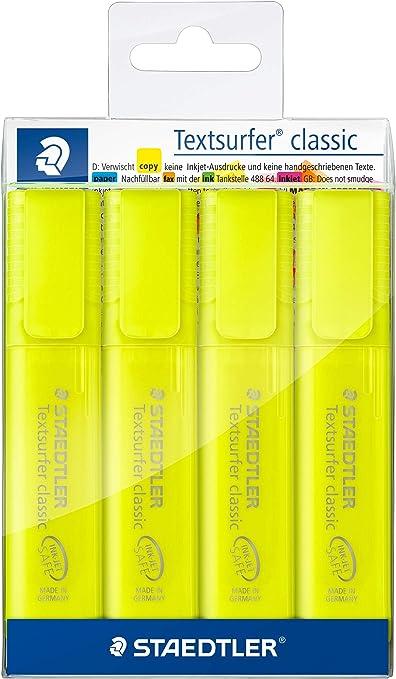 Textsurfer Classic 364 - Lote de 4 rotuladores (punta biselada, 1 a 5 mm), color amarillo: Amazon.es: Oficina y papelería