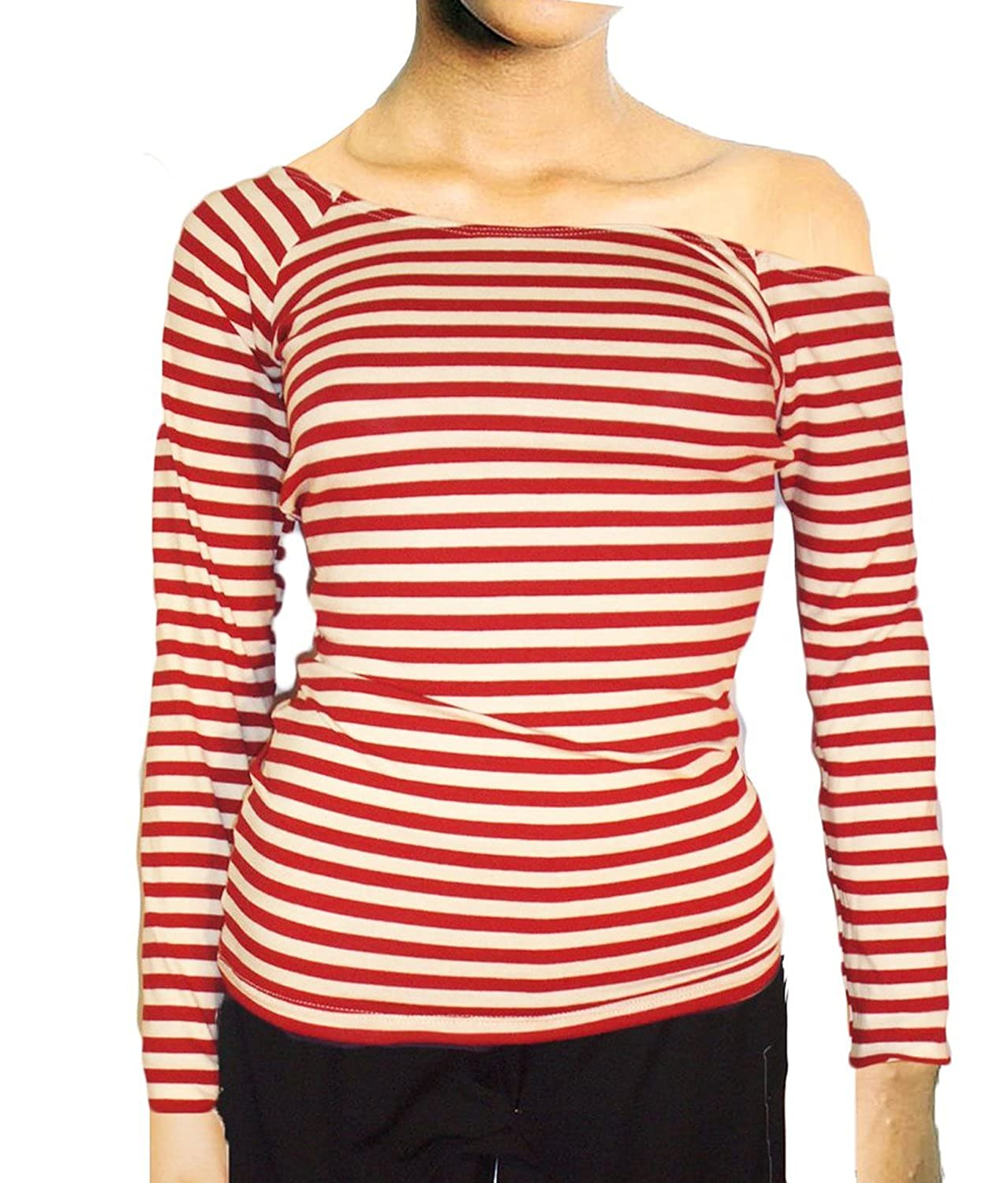 Women's Long Sleeve Off the Shoulder Striped Knit Top
