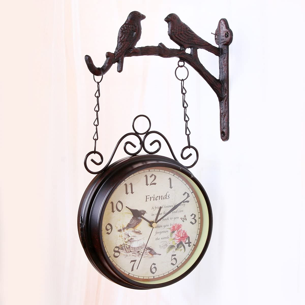 Two Sided Design Silent Clock for Garden Outdoor Home Silent Non-Ticking Wall Mounted Clock Outdoor Garden Clock Bracket Clock