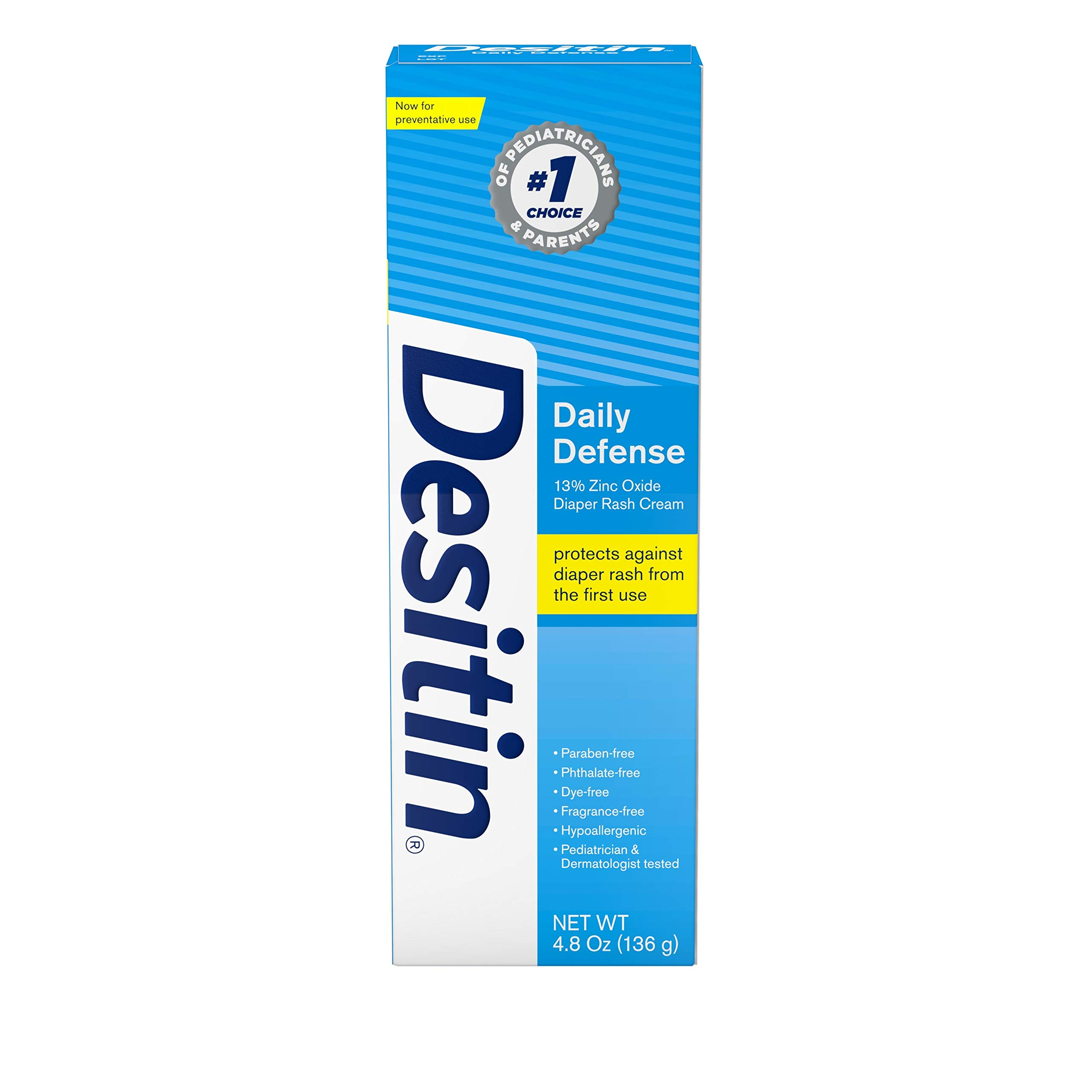 Desitin Daily Defense Baby Diaper Rash Cream with Zinc Oxide to Treat, Relieve & Prevent Diaper Rash, Hypoallergenic, Dye-, Phthalate- & Paraben-Free, 4.8 oz