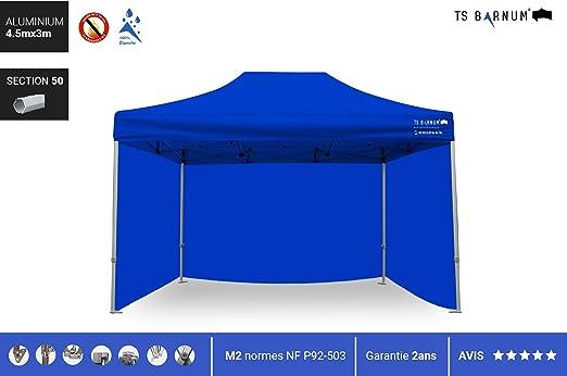Barnum - Carpa Plegable de Aluminio #50 - Barnum - Pérgola Plegable - Pabellón - Sombrillas, toldos y toldos - Muebles de jardín, Color Azul, tamaño 4.5m x 3m (M2), 70.55, 66.14 x 12.99 x 17.32inches: Amazon.es: Jardín