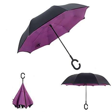Baolustre Reverse Umbrellas Folding Double Layer Inverted C Hand Holder Stand Rain Windproof Rolling Over Umbrella