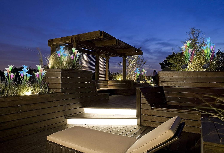 BSTO - Luces solares para jardín (2 unidades, con 8 flores de lirio, luces LED solares que cambian de color para jardín, patio, patio trasero (blanco y azul): Amazon.es: Iluminación