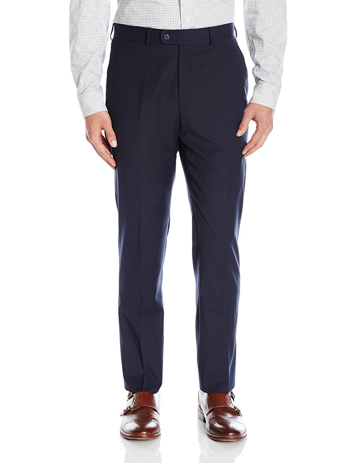 Calvin Klein X-Treme Slim Fit Dress Pants for Men Flat Front Trousers (42W x 32L, Navy)