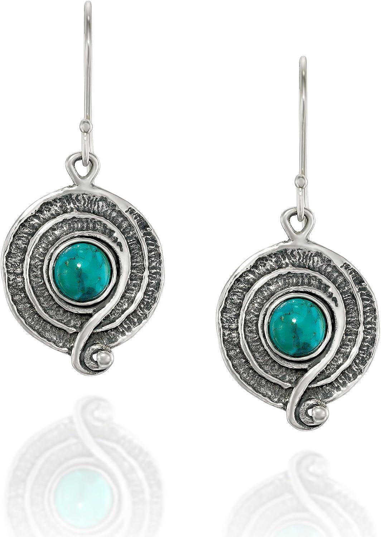 Pendientes turquesa estilo vintage de plata de ley 925 con diseño de espiral o remolino