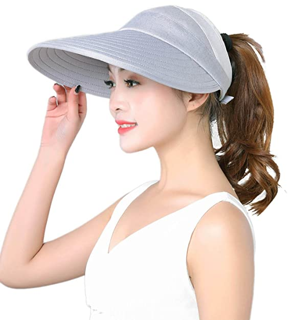 0ac3b7ae189 Image Unavailable. Image not available for. Color: HINDAWI Sun Hat Wide  Brim Sun Hats for Women Packable Floppy UV Protection Visor Beach Womens