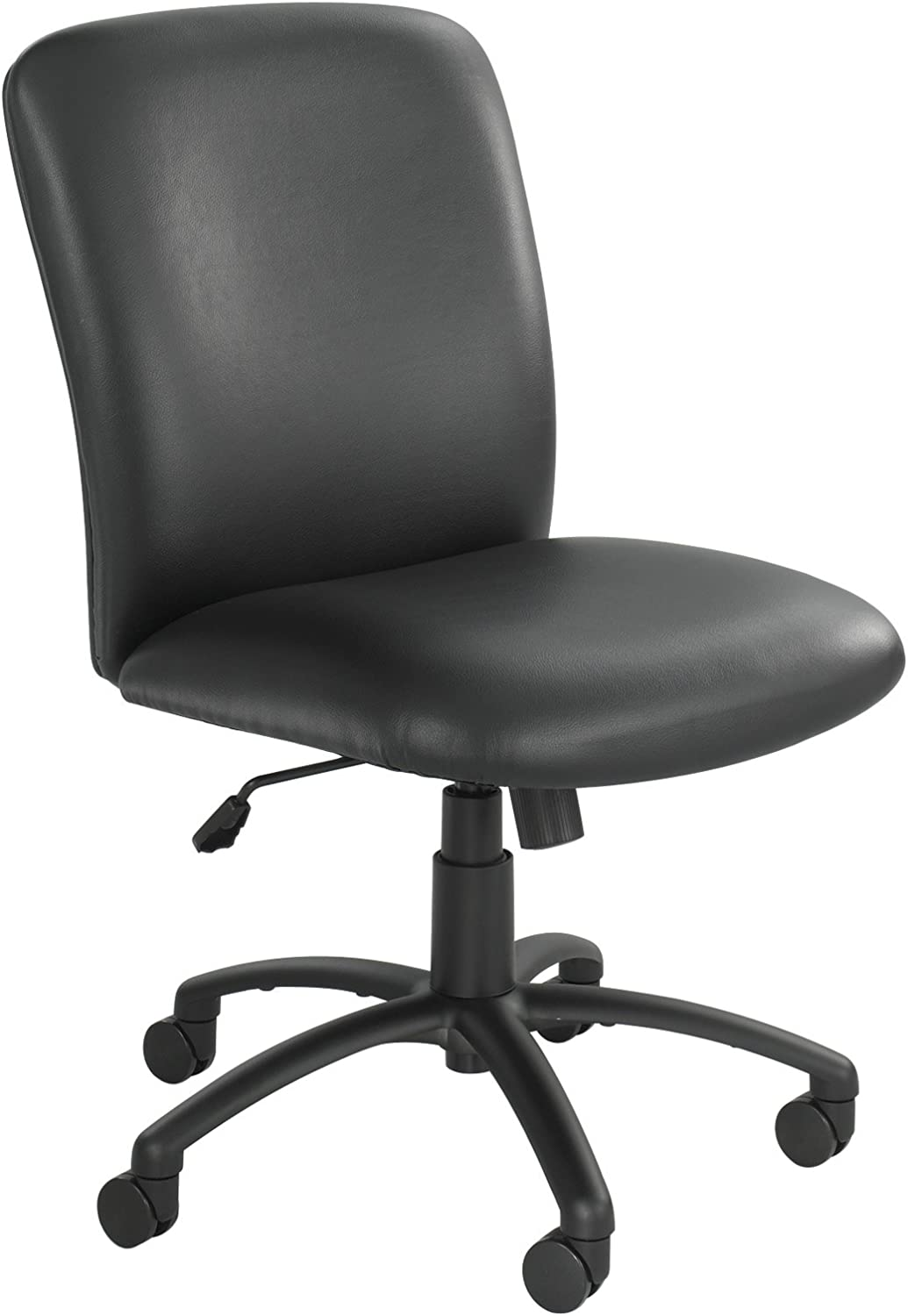 "Safco Products High Back Big and Tall Swivel Desk Task Office Chair, 27"" W x 30-1/4""D x 40-3/4-44-3/4"" H, 500 lbs. Weight Capacity, for Professional or Home, Black Vinyl"