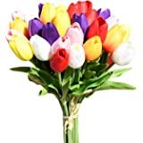 Mandy's 28pcs Multicolor Artificial Latex Tulips for Party Home Wedding Decoration