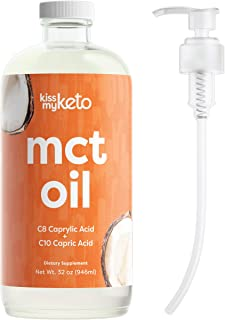 product image for Kiss My Keto MCT Oil 32 oz — Premium MCT Oil C8 & C10 + Dosing Pump | Coconut Oil Medium Chain Triglycerides from Sustainable Non-GMO Coconuts | for Keto Coffee & Tea, Salads, Keto Shakes