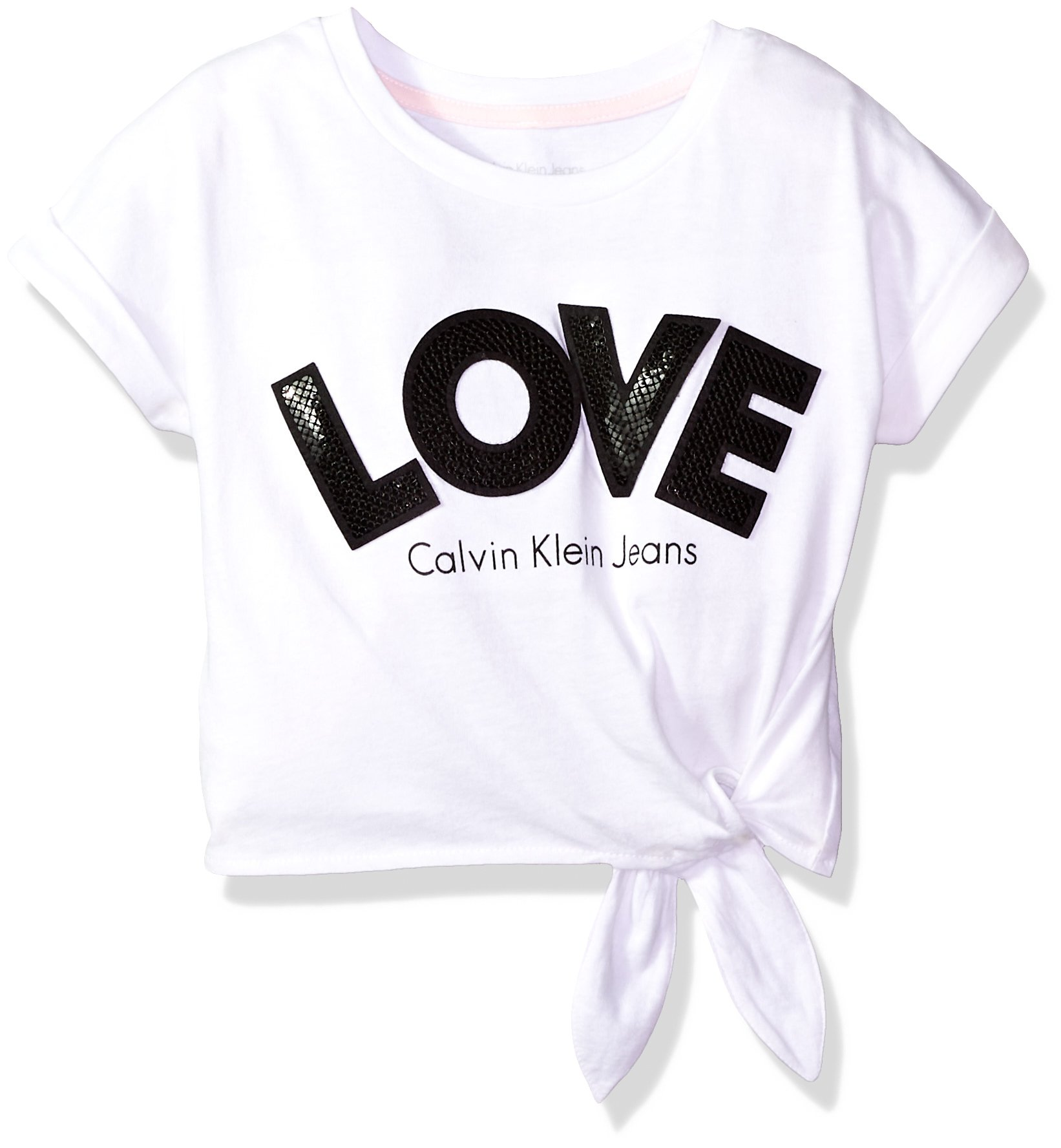 Calvin Klein Little Girls' Calvin Graphic Tee, Love White, 5