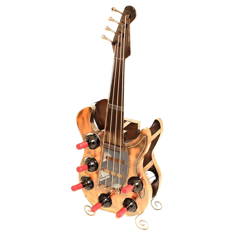 Brubaker Weinregal Gitarre fü r 6 Flaschen XXL Metall Skulptur 104 cm Hö he FlaschenhMetall_6034_WeinregalGitarre