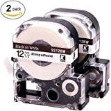 "LK LC Label Tape Cartridge Compatible Epson Labelworks LW-300 LW-400 LW-500 LW-600p label printers, Black On White LC-4WBN9 (LK-4WBN), 1/2"" (12mm) x 30ft (9m) - 2 Pack"