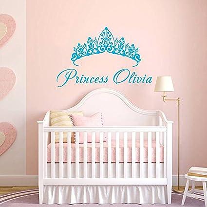 Pegatina De Pared Personalizada Nombre De La Niña Corona De Princesa Muchacha Engomada Arte Vinilo Etiqueta