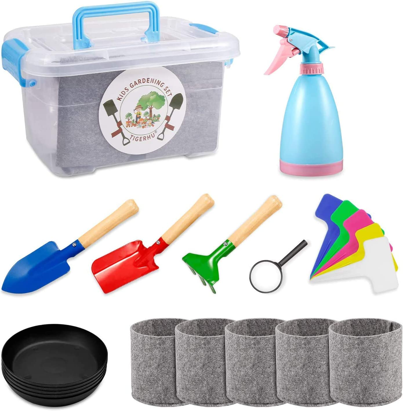 Tigerhu Kids Gardening Tools - Garden Tools Set - Kids Metal, Includes Sturdy Storage Box, Watering Can, Shovels, Rake, Stakes, Magnifier, Tray, Planting Bag, and 5pcs Plant Labels. All in One Set