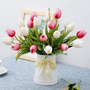 YILIYAJIA Artificial Tulips Flowers with Ceramics Vase Fake Tulip Bridal Bouquets Real Touch Flowers Arrangement for Home Table Wedding Office Decoration(White&Red)