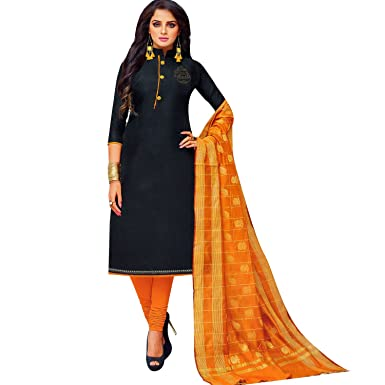 c1315d5d68 Ladyline Plain Silk Swarovski Handwork Salwar Kameez with Banarasi Dupatta  Designer Readymade Stitched Salwar Suit at Amazon Women's Clothing store:
