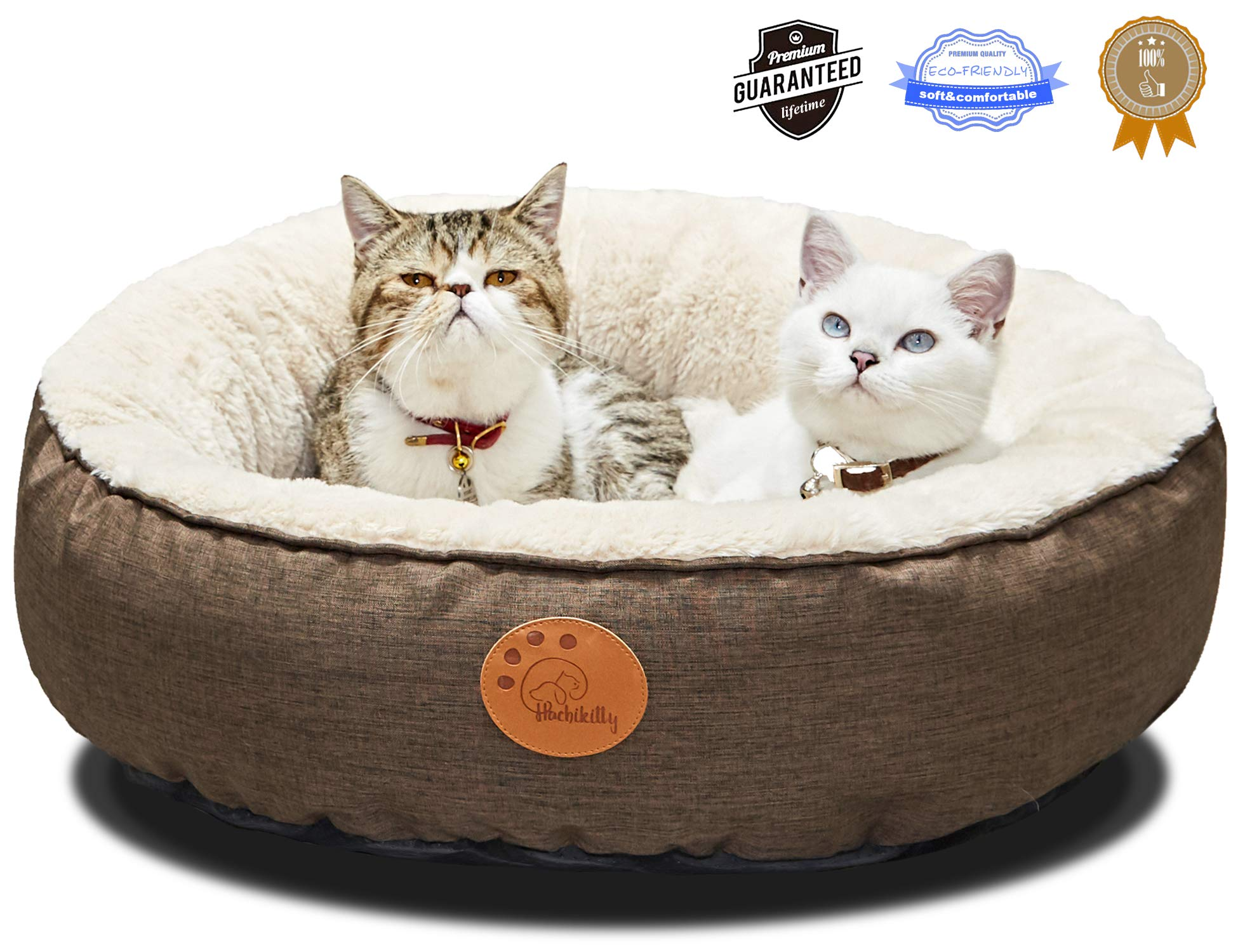 HACHIKITTY Washable Cat Warming Bed Round, Cat Beds Indoor Cats Medium, Big Pet Bed Machine Washable, 24, Brown by HACHIKITTY