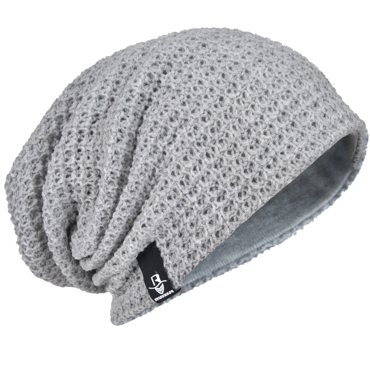 d1ea9168908 FORBUSITE Men Oversize Skull Slouch Beanie Large skullcap Knit Ski Hat B08  (Light Gray) Apparel