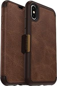 OtterBox Strada Series Case for iPhone Xs & iPhone X - Bulk Packaging - Espresso (Dark Brown/Worn Brown Leather)