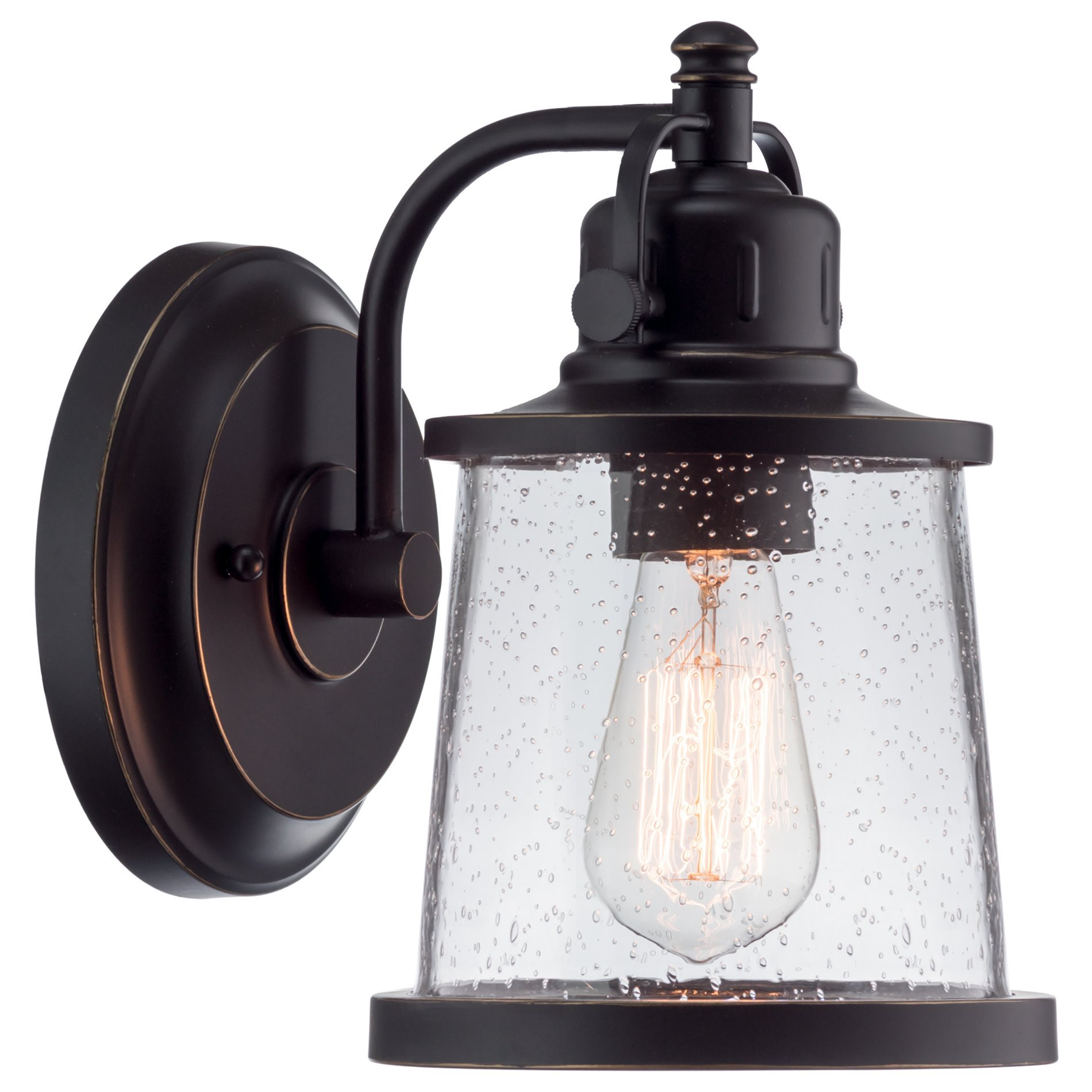 Kira Home Emmett 10'' Industrial/Rustic Outdoor Wall Light/Wall Sconce, Oil Rubbed Bronze + Gold Trim Finish