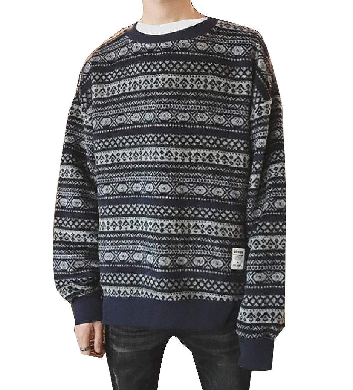 YUNY Mens Baggy Fashion Plus Size Printing Pattern Sweatshirts Blue S