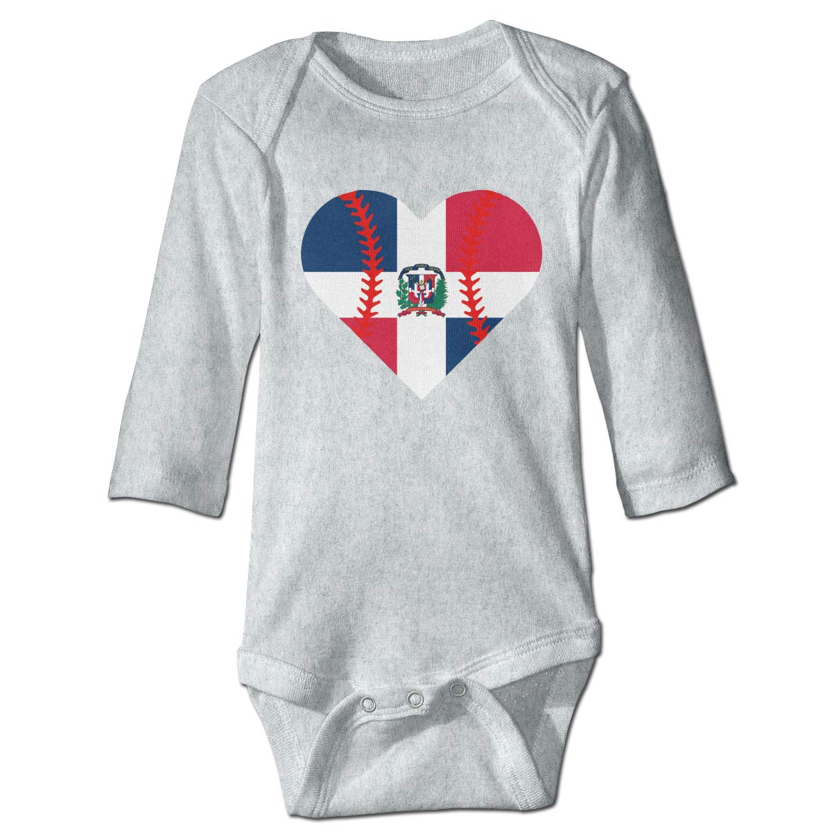 A14UBP Newborn Baby Boys Girls Long Sleeve Climb Jumpsuit Dominican Republic Flag Baseball Heart Playsuit Outfit Clothes