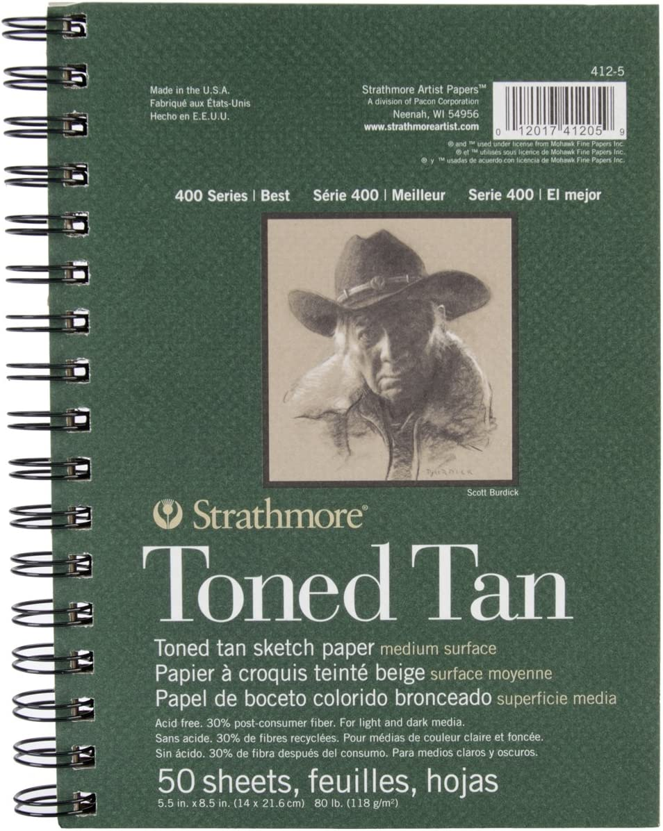 Strathmore toned Sketch Spiral Paper Pad 5.5-inch x 8.5-inch