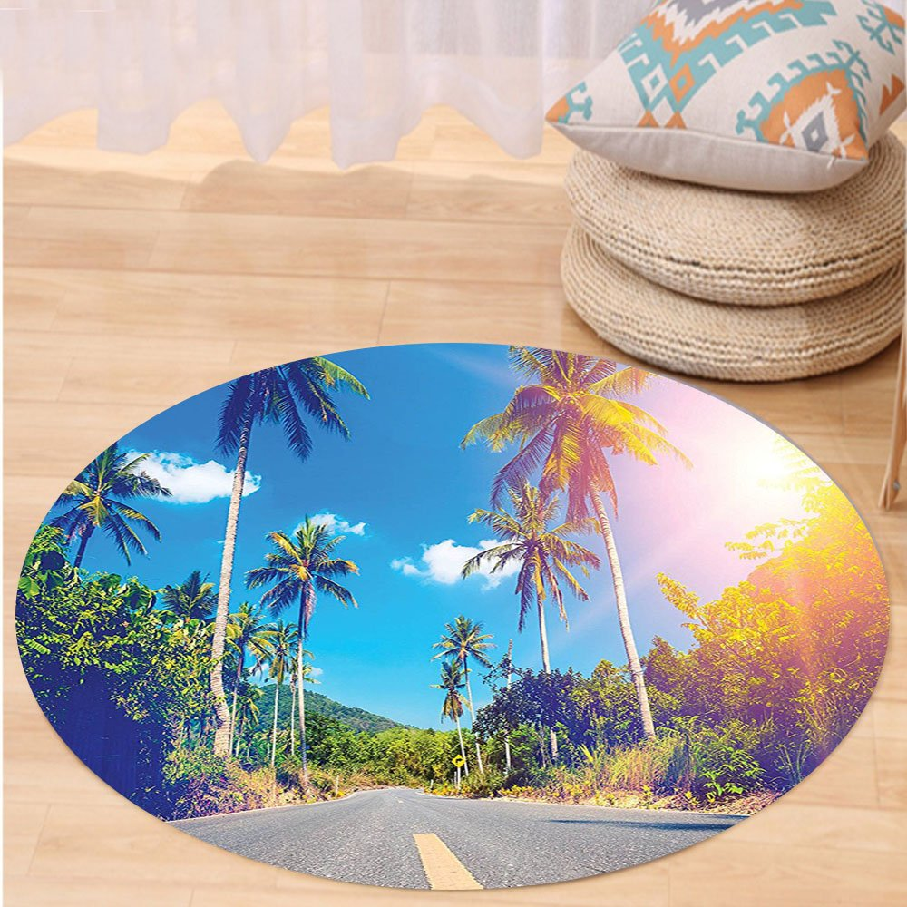 Kisscase Custom carpetDorm Room Palm Trees Summer Joy Clouds Nature Tropical Beach Art Sun Fabric Room Dividers College Dorm Accessories Exotic Throws Bedroom Decor Blue Green Yellow