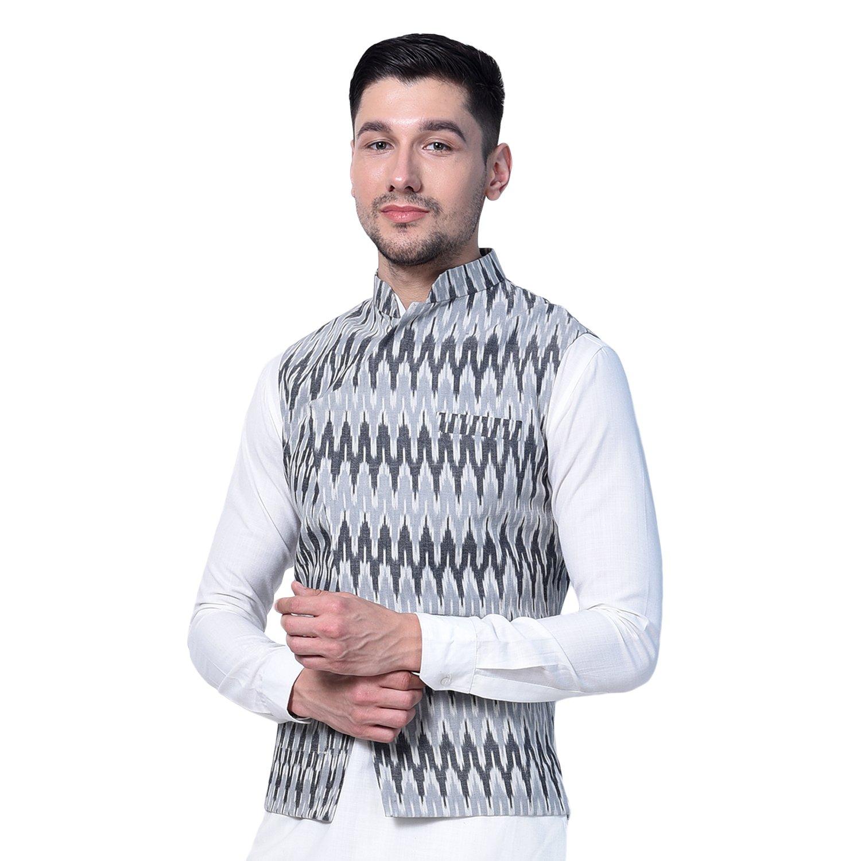 Pathan Kurta pyjama with designer Ikkat cotton nehru jacket (L-42)