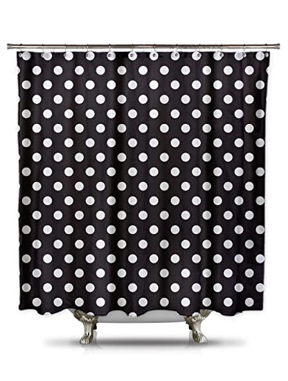 Amazoncom Shower Curtain Hq Black And White Polka Dot Shower