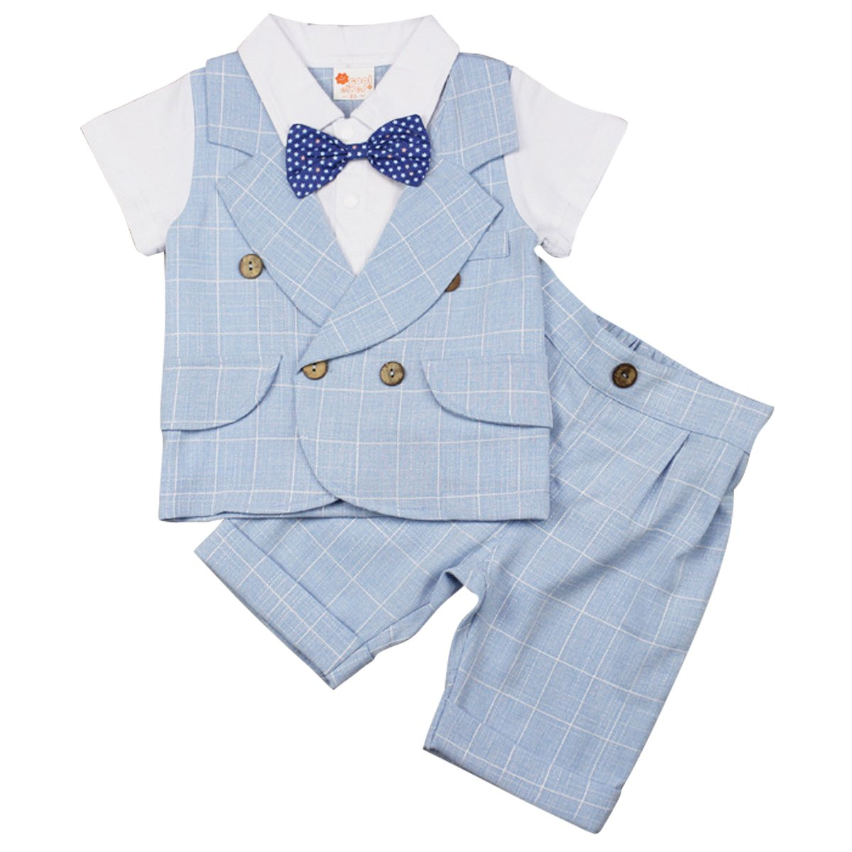 Kanodan Toddler Boy Plaid Gentleman Suits with Bow Summer Shorts Set 1-4Years (Light Blue, 12-18Months)