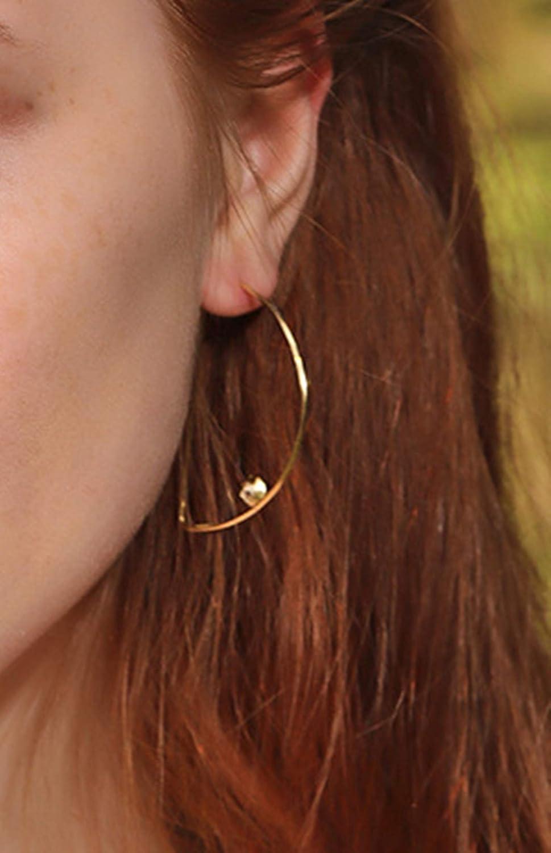 Epinki 925 Sterling Silver Women Stud Earrings D Shape Cubic Zirconia Earrings Gold