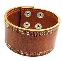 Ampia Bracciale in pelle alla moda braccialetto in pelle con bottoni automatici fatto a mano in Germania per il polso bracciale per gli uomini