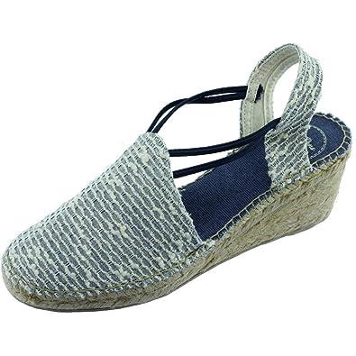 5dc5e12f8df TONI PONS Tania VS Espadrilles Bout Fermés Tissus Bleu Marine Talon Compensé  Marque Chaussures Femme Petites