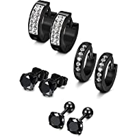 Sailimue 4 Pairs Stainless Steel Men Earrings for Women Stud Earrings Hoop Huggie Piercing 18G