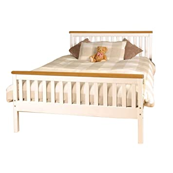48ft King Atlantis Style Wooden Pine Bed Frame In White With Caramel Best Atlantis Bedroom Furniture