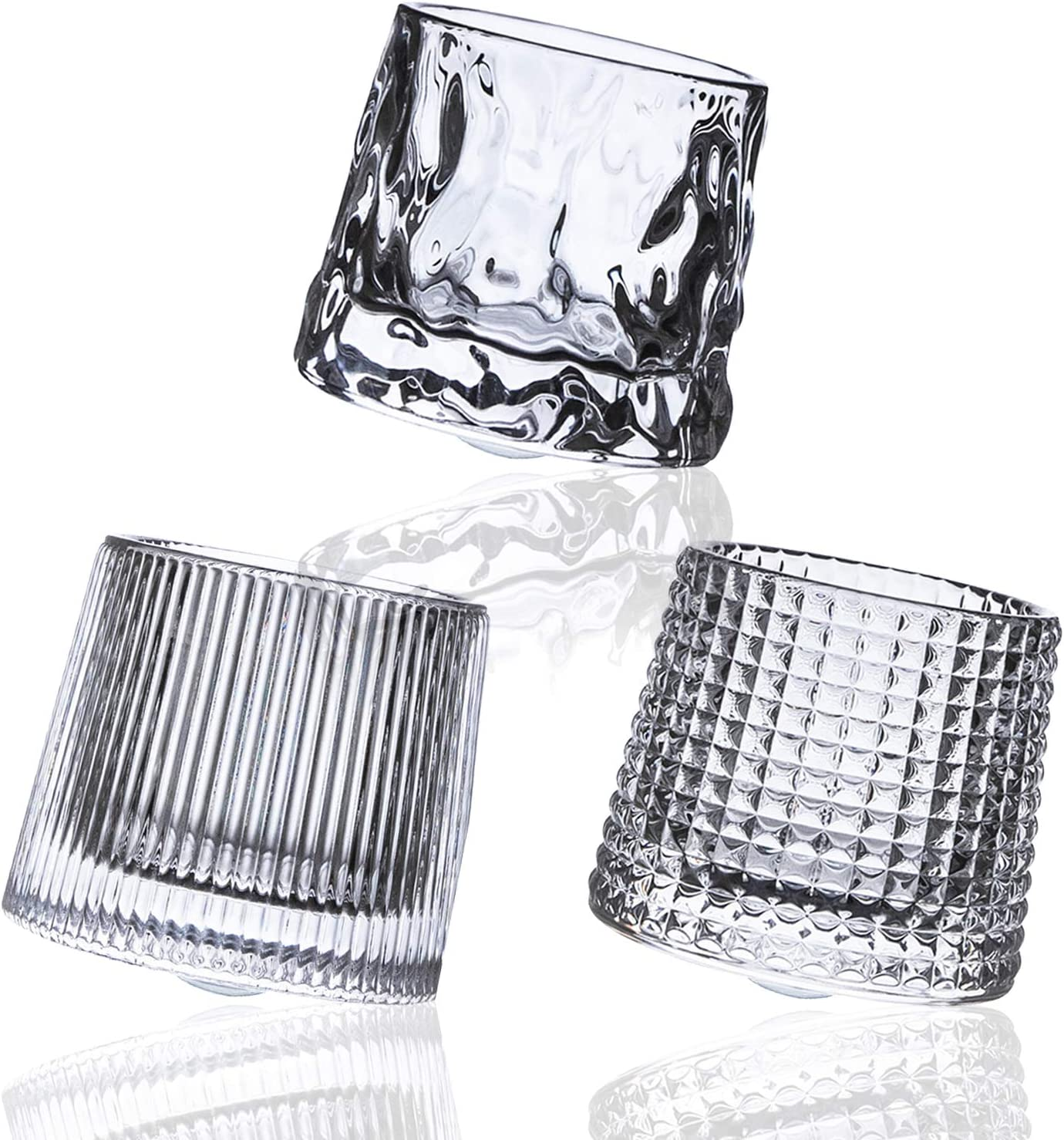 Crystal Whiskey Glasses 5 OZ Set of 3, Rotatable Old Fashioned Glasses, Tumbler Rocks Bar Glass for Drinking Bourbon, Scotch , Cocktails, Cognac