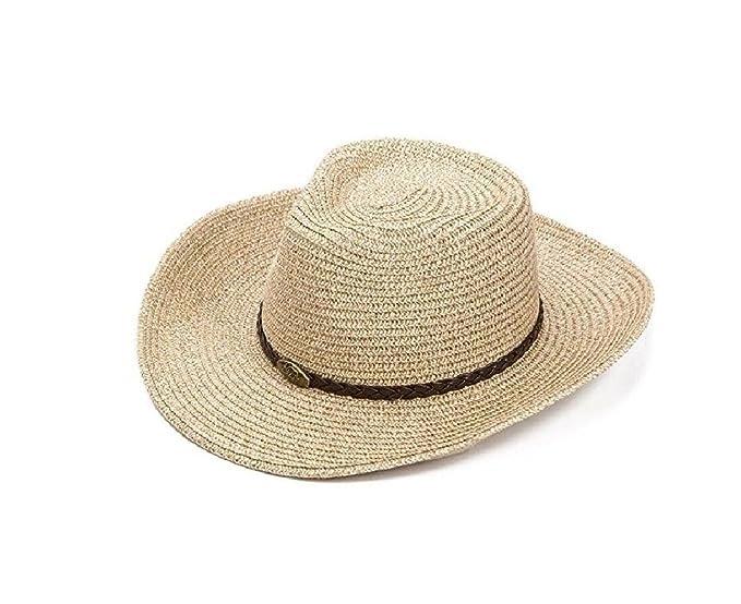 Sunuo Summer Men and Women Straw Hat Western Cowboy Hat Turner Hat (A-Beige 375a74843e2