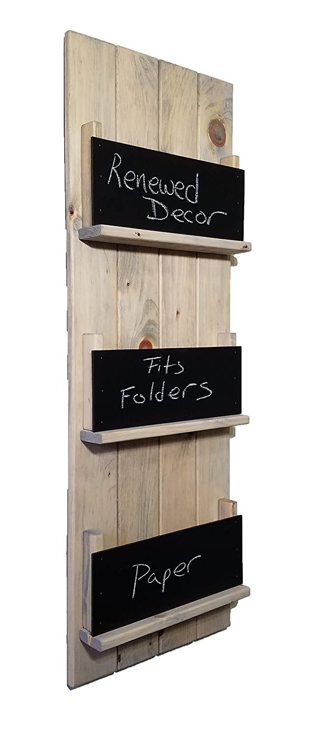 Renewed Décor Sydney Wall Mounted Magazine, File Folder and Book Rack Featuring Customizable Number of Key Hooks, Organizing Slots, Chalkboards Available in 20 colors
