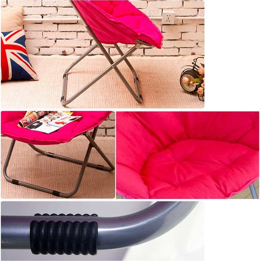 Zcxbhd Moon Chair Bean bag Leisure camping stool Holder Steel Frame Folding Padded Portable for Outdoor Activities Brown