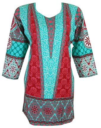 d662ec14ea2cb Panini Impex Printed Cotton Long Kurti Top Indian Summer Clothing at ...