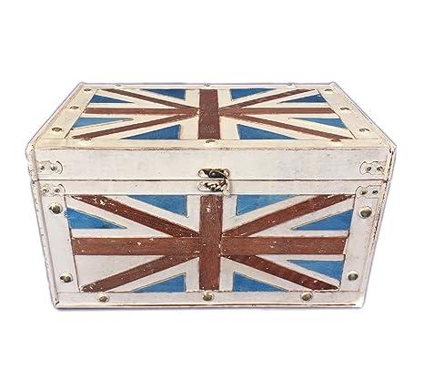 Baúl Vintage Retro cajas de almacenaje de madera con adornos de metal Decoración Bandera Inglesa grande
